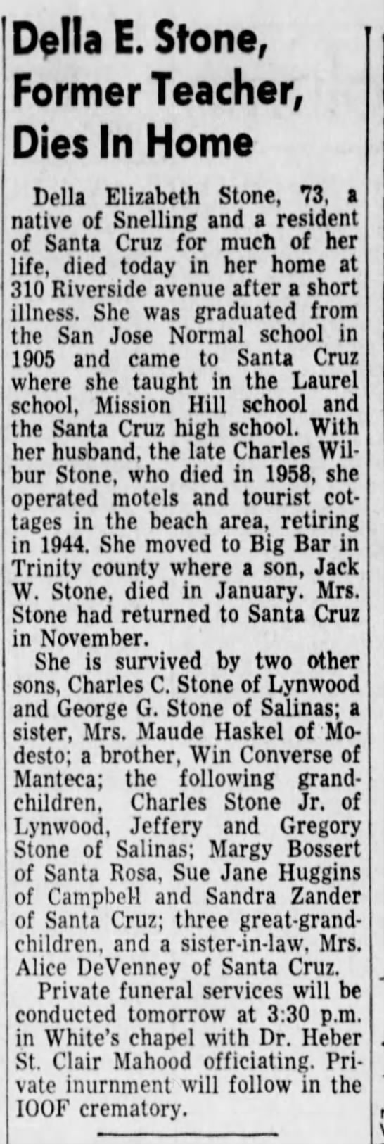 Grandmother of Sue Jane Stone that was married to Everett R. Yarnall in 1955 -