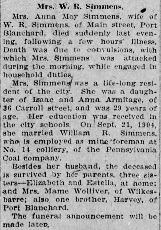 Pittston Gazette, 22 JAN 1912, p. 1 - 31r., W. K. Siimiien.H. Mrs. Anna 'May Simmem,...