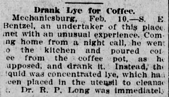 Samuel E Bentzel_lye for coffee_Pittston Gazette_10 Feb 1912 -