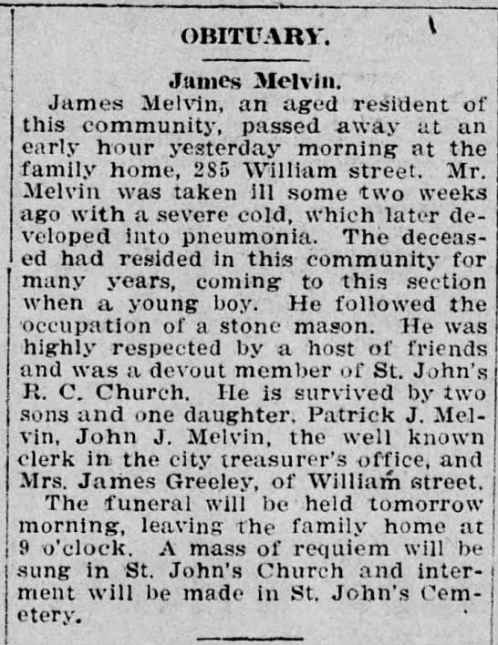 James Melvin- d. 18 Feb 1912 -