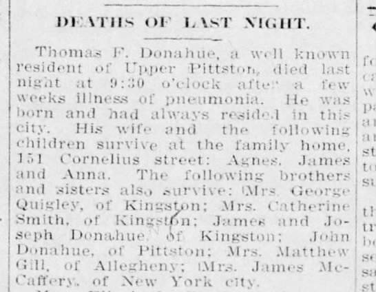 Published in the Pittston Gazette, Wednesday, March 30, 1910, Page 3 -