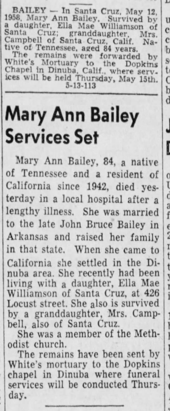 Bailey, Mary Ann - Obit  13 May 1958, Tue , Page 16, Santa