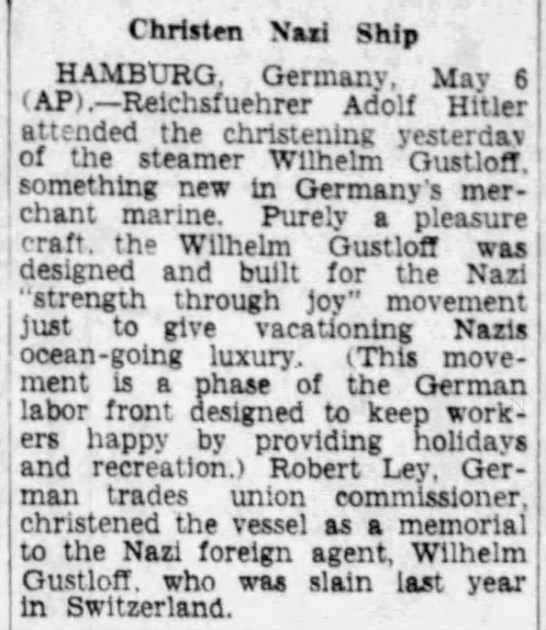 Hitler attends christening of Wilhelm Gustloff -