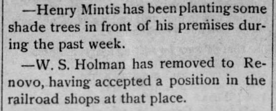 W. S. Holman accepts job at Renovo railroad shops -