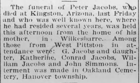 Peter Jacobs funeral announcement 1911 -