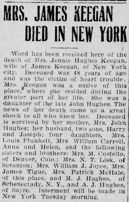 Obituary Jennie Hughes Keegan -