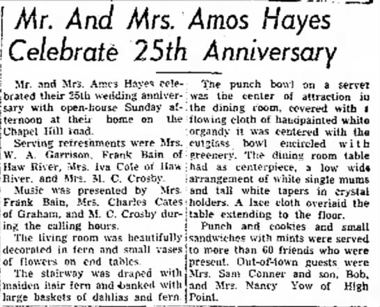 9/23/1946 times News.  Grandmother and Papa's 25th Anniversary reception -