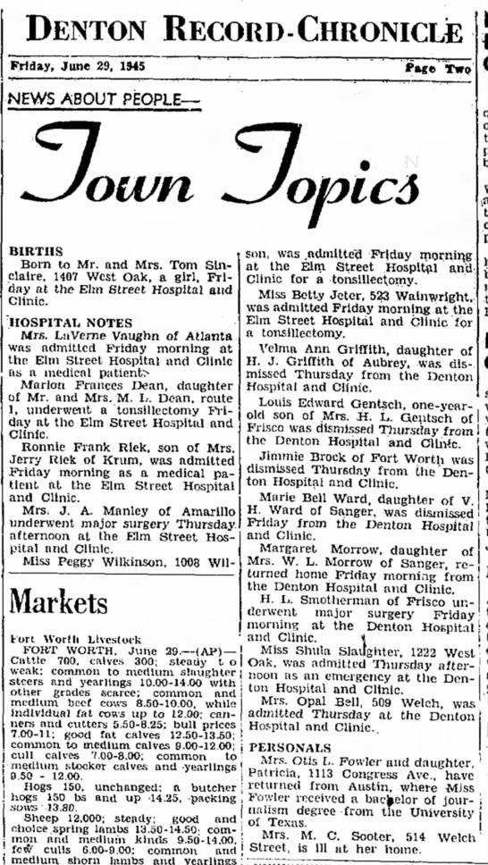 Denton Record-Chronicle June 29,1945 -