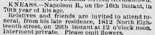 Napoleon B Kneass death notice March 20 1888 -