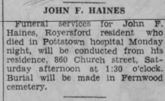 John f Haines first death notice -