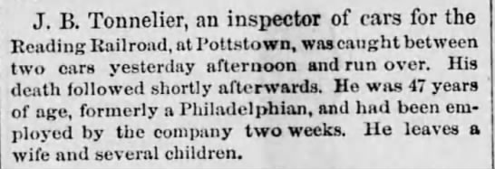 Philadelphia, Pennslvania, The Times, 12 June 1878.  Death of J.B. Tonnelier -