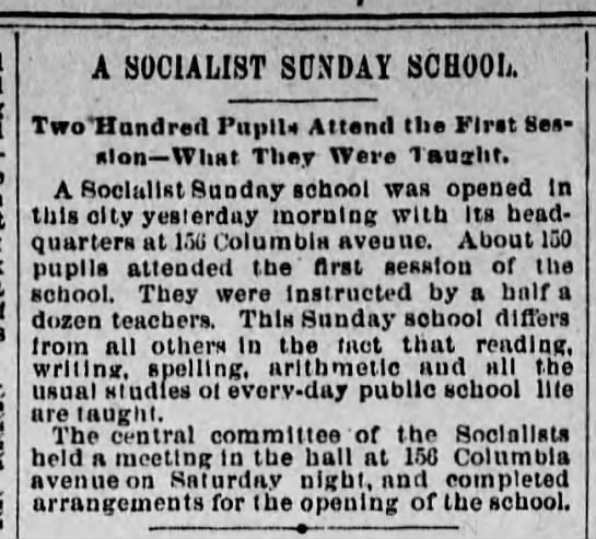 A Socialist Sunday School: 200 Pupils Attend the First Session -