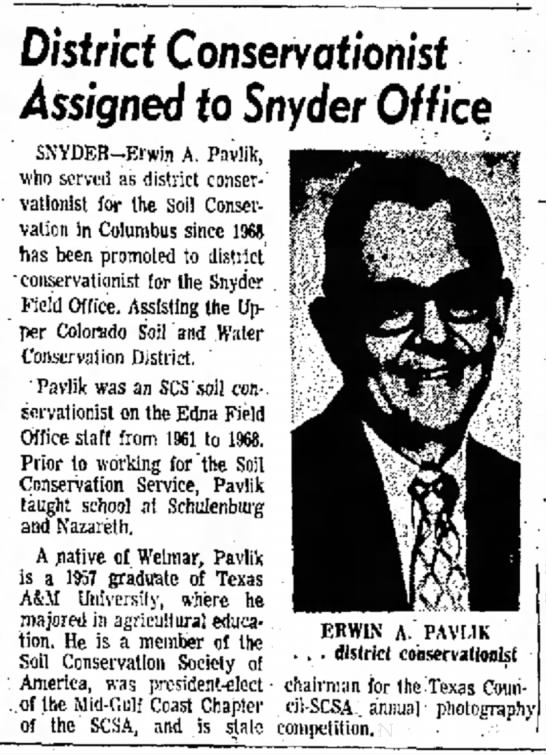 Erwin Pavlik - District Conservationist assigned to Snyder Office 1974 -