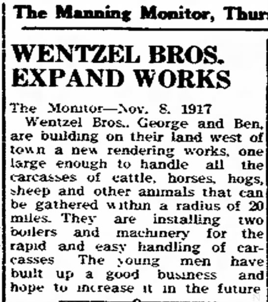 Wentzel Brothers Expand - in The Manning Monitor, WENTZEL BROS. EXPAND...