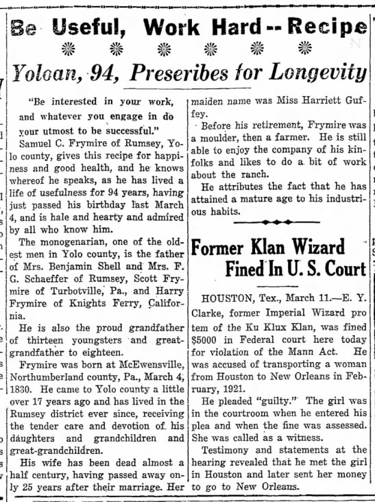 Samuel Frymire, 94, Yolo CA Mar 1924 - Newspapers com