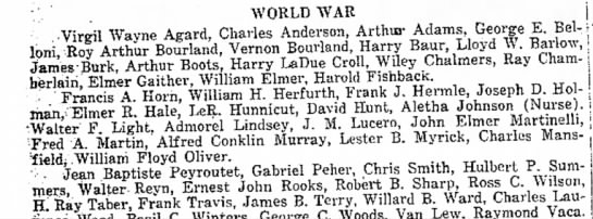 list of World War soldiers from Woodland area -