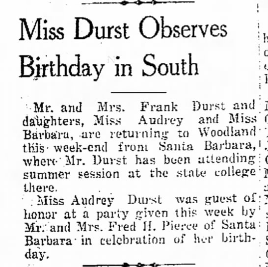 Frank Durst attending summer session at state college and Audrey Durst celebrates birthday -