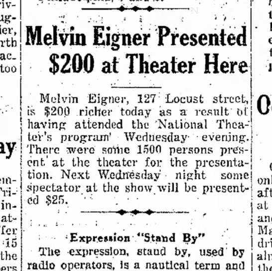 Melvin Eigner 1935 -