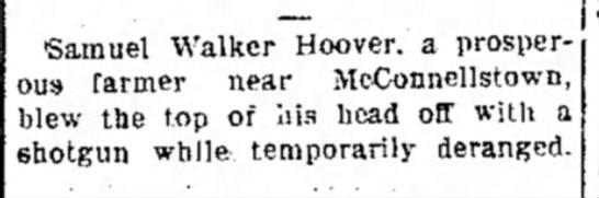 Samuel Walker Hoover McConnellstown Suicide June 1909 -