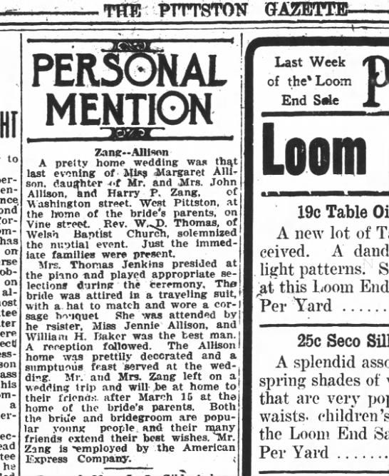 zang/allison wedding in Pittston Gazette 2/25/1915 -