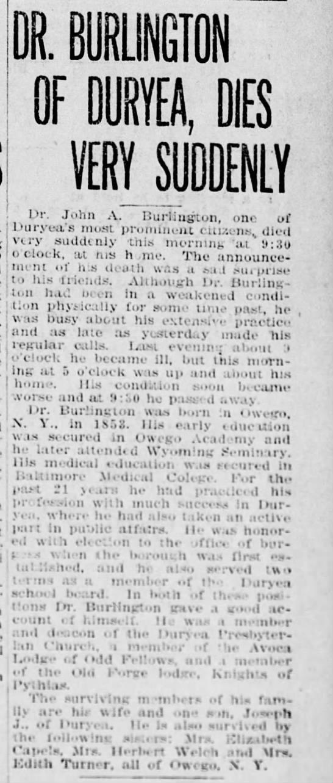 burlington death 1912 -