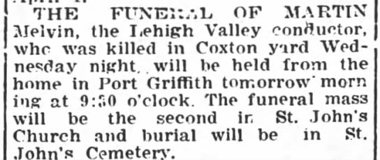funeral of Martin Melvin- LVRR conductor- 6 Mar 1915 -