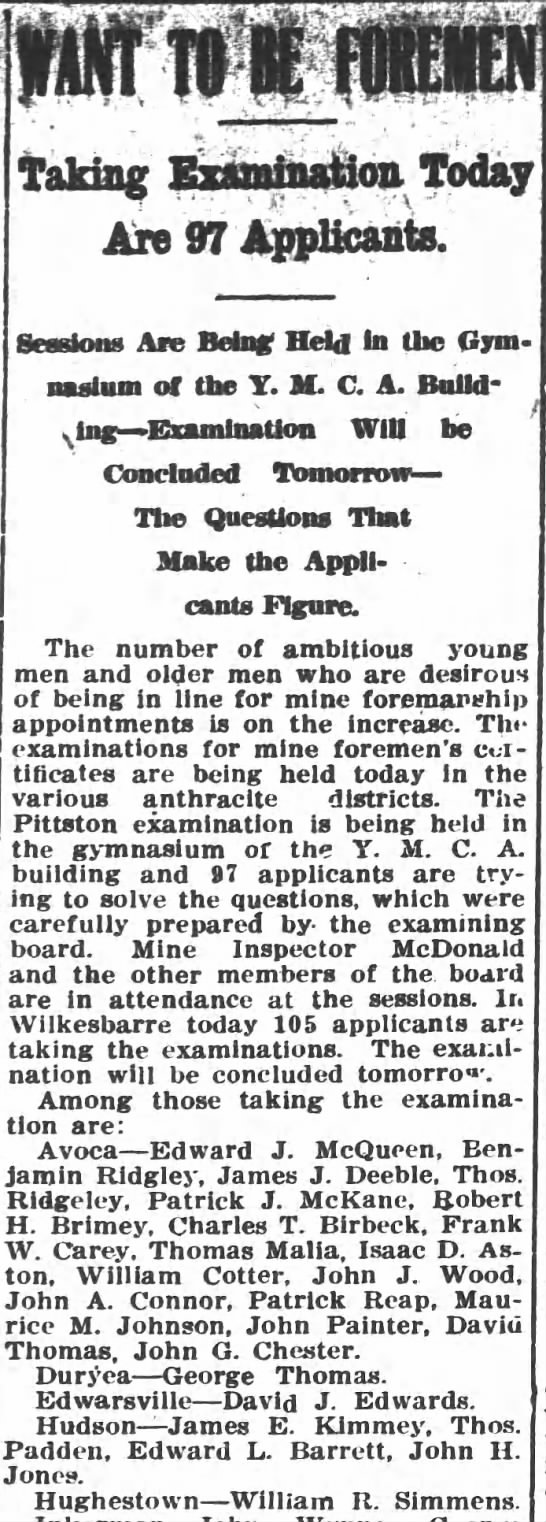 Pittston Gazette, 19 MAY 1908, p. 1 - taking Ex&sis&ftoa Today Are 97 Applicants....