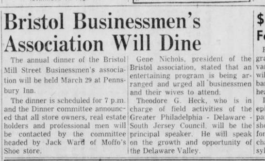Bristol Mill Street Businessmen's Association 3/18/1955 -