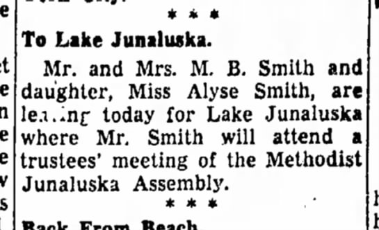 Mr. and Mrs. M. B. Smith to Lake -
