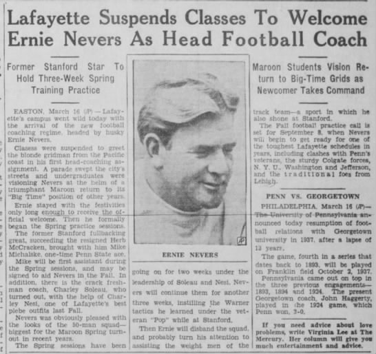 Lafayette Suspends Classes To Welcome Ernie Nevers As Head Football Coach -