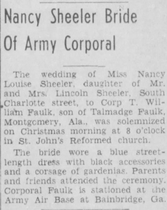 Marla's parents marriage - Nancy Sheeler Bride Of Army Corporal The...