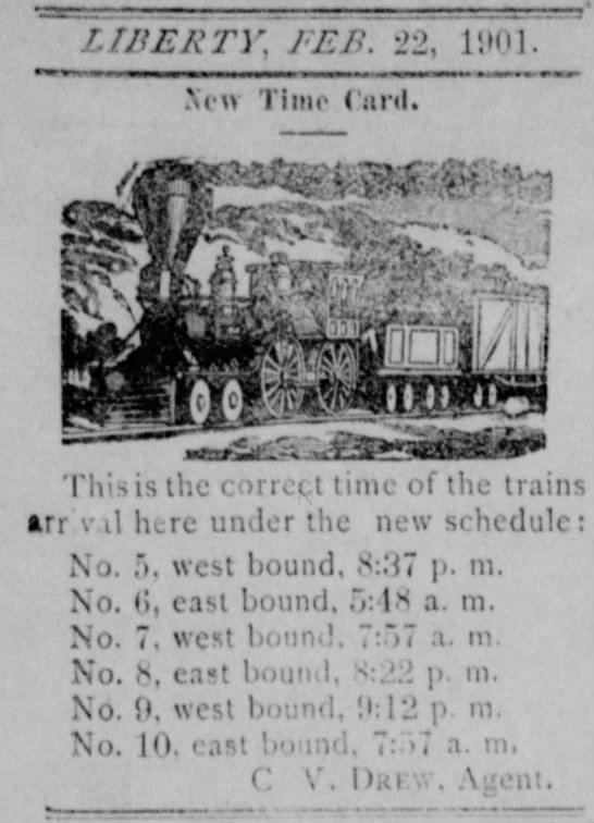 Train Schedule 1901 - r. WERT Y ; FEE. 22, li»0]. Xcn Timo ( ani....