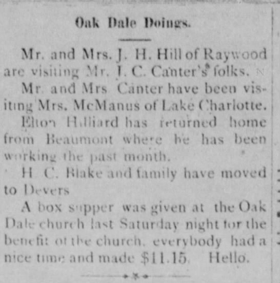 H. C. Blake moved to Devers1902 -