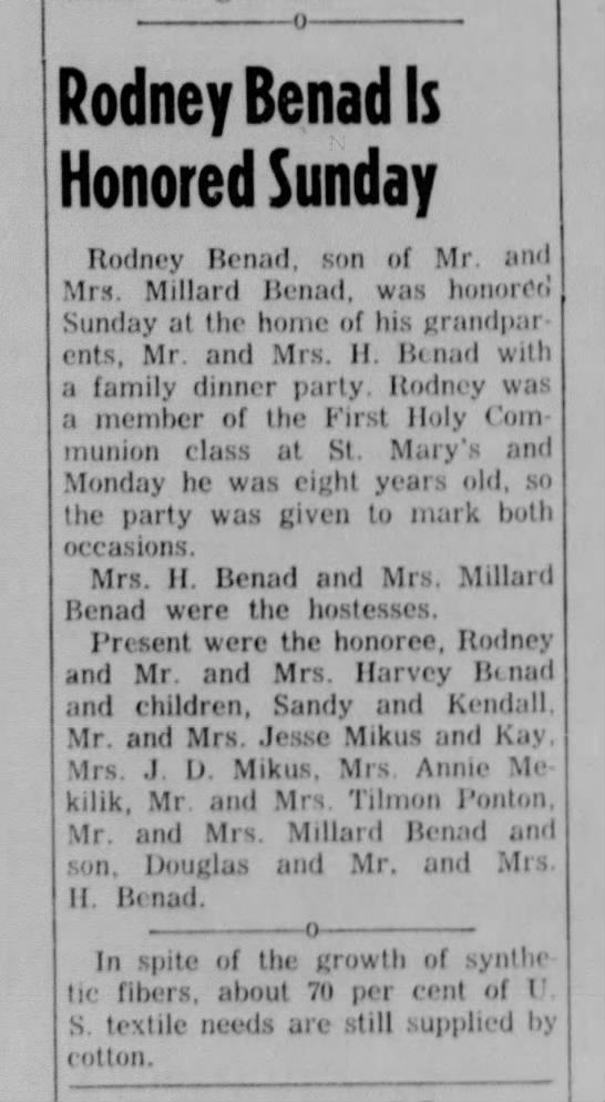 Rodney Benad Nov 16 1955 -