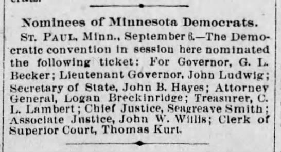Nominees of Minnesota Democrats. ST. PAUL, Minn., September 6. - The Democratic convention -