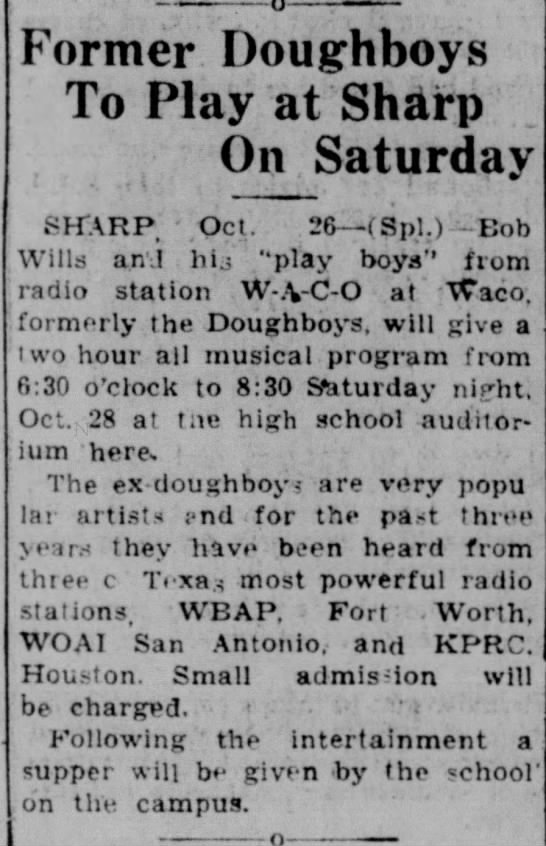 "Bob Wills and his ""play boys"" @Sharp, Texas, on Oct 28, 1933 -"