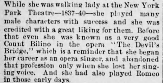 Charlotte Cushman's many male roles - While she was walking lady at the New York Park...