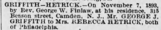 Married - Griffith-Hetrick - The Times - Phila. PA, November 29, 1893, pg 5 -
