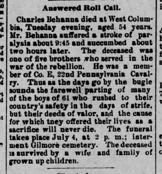 Charles Behanna buried at Gilmore Obituary 3 July 1901 -