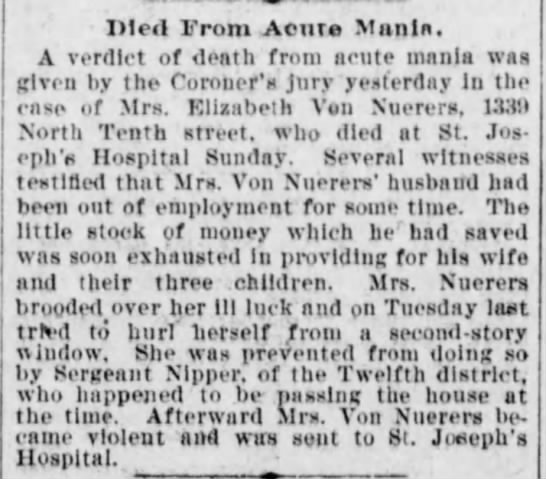 Death caused by mania - 1899 -