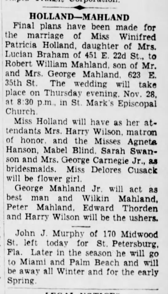 MAHLAND Robt Wm+HOLLAND Winifred Patricia-wedding-BrooklynDailyEagle-28 Nov 1935 -
