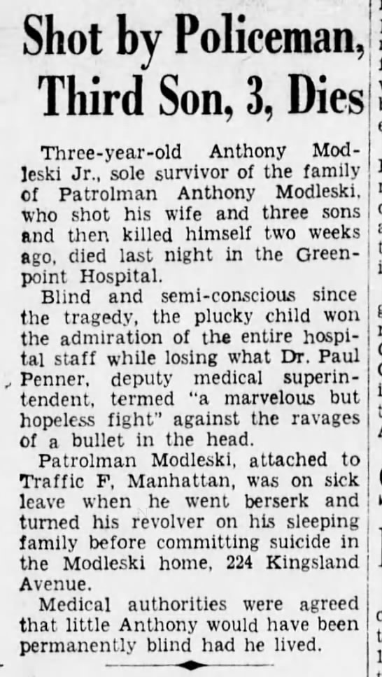 The Brooklyn Daily Eagle, Brooklyn, NY 27May1938, Death of Anthony Modleski Jr. -