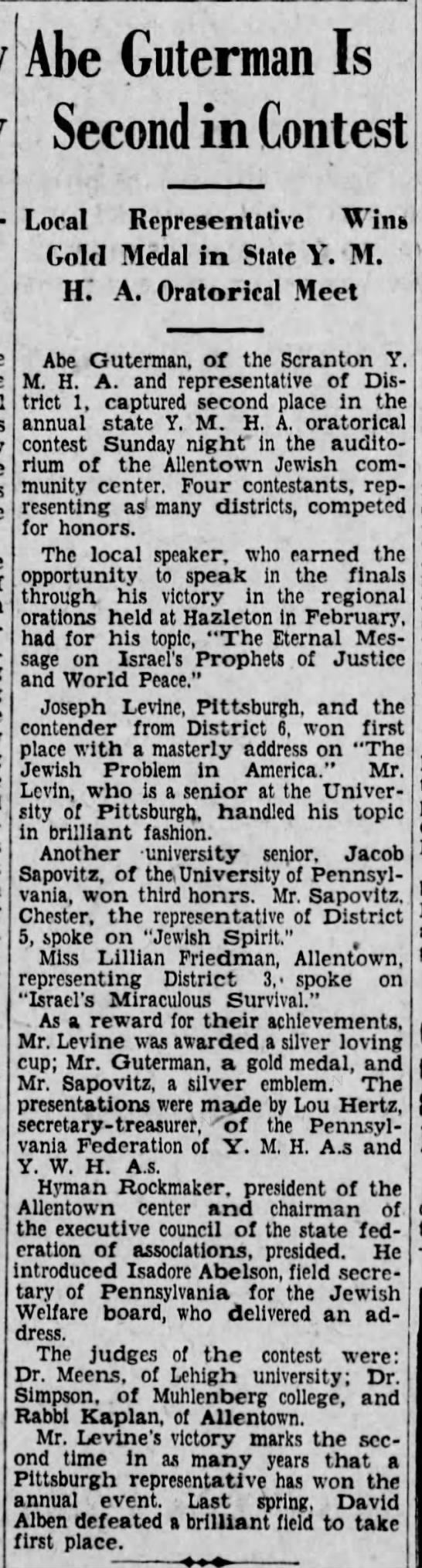 State YMHA oratory contest held at Allentown Jewish Community Center, 1929 - Abe Guterman Is Second in Contest Loral...