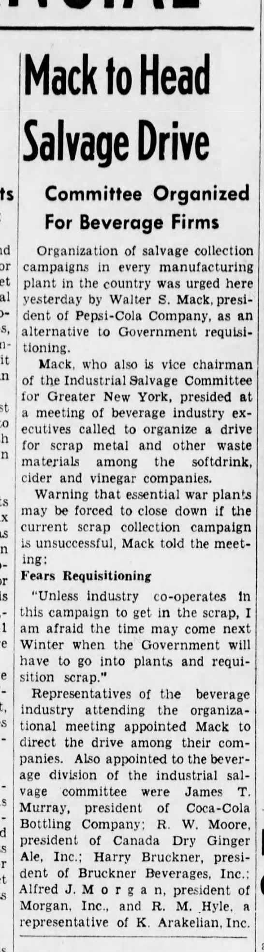 Mack heads salvage drive for beverage firms, The Brooklyn Daily Eagle, 23 July 1942 -