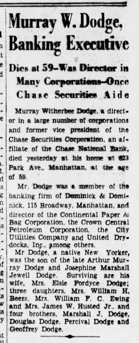Death of Murray W. Dodge (1937). -