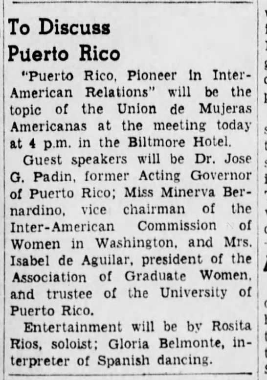 To Discuss Puerto Rico, The Brooklyn Daily Eagle, (Brooklyn, New York) , 23 May 1943, p 19 -