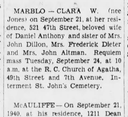 The Brooklyn Daily Eagle 23 Sep 1940 Page 13, column 3 -