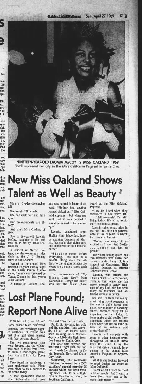 Miss Oakland 1969 winner Laomia McCOy -
