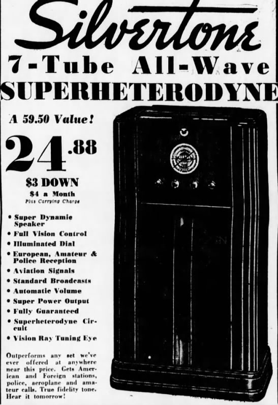Entertainment Radio Capable of Receiving Police Aeroplane Transmissions - 7  -Tube All-Wave A
