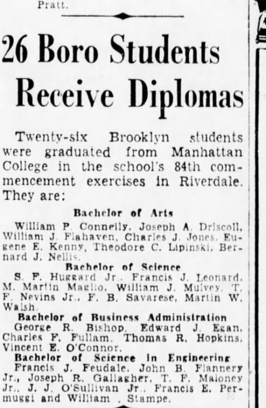 Brooklyn Daily Eagle June 9 1937 Dad's 1st degree Age 20 -